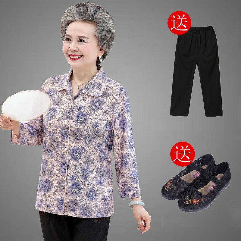 中老年人夏装女短袖套装妈妈老人衣服60-70-80岁奶奶春装长袖衬衣
