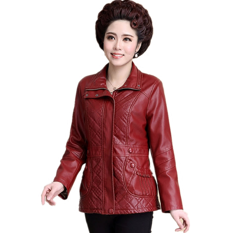 Fat mothers womens mid long versatile large Haining leather dress girl slim leather jacket middle age fat skin coat girl