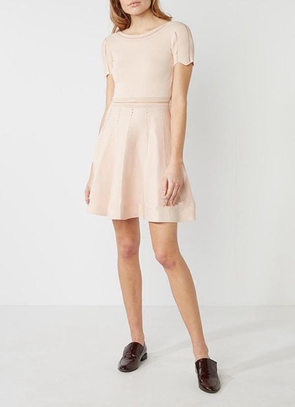 欧洲站 夏装2017新款女 甜美高腰 露背针织花瓣袖修身女连衣裙
