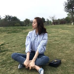 领5元券购买春夏bi入清新竖蓝条纹飘带韩版衬衫