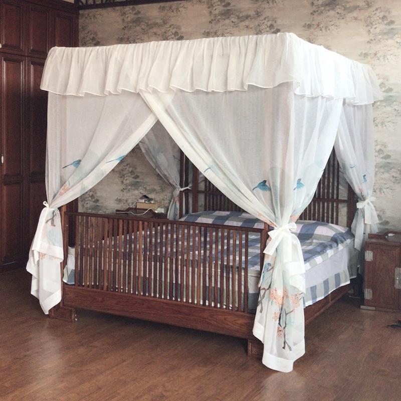 新中式古典架子床定制白底棉麻手绘水墨海棠花鸟整体蚊帐款床幔纱