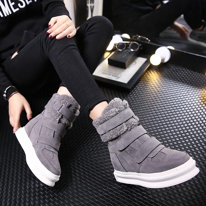 Осень/зима новые продукты увеличилась высокой помощи обувь велкро ботинки случайных сапоги платформы платформы плюс бархат Кроссовки Обувь