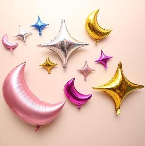 月亮铝箔气球儿童生日派对周岁星星月亮铝膜气球装饰婚礼婚房布置