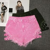 粉色牛仔短裤女夏季新款学生宽松阔腿裤高腰铆钉镂空钉珠破洞热裤