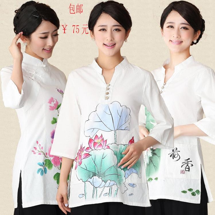夏季唐装棉麻加长上衣传统文化服装中式改良印花中袖加大女装包邮