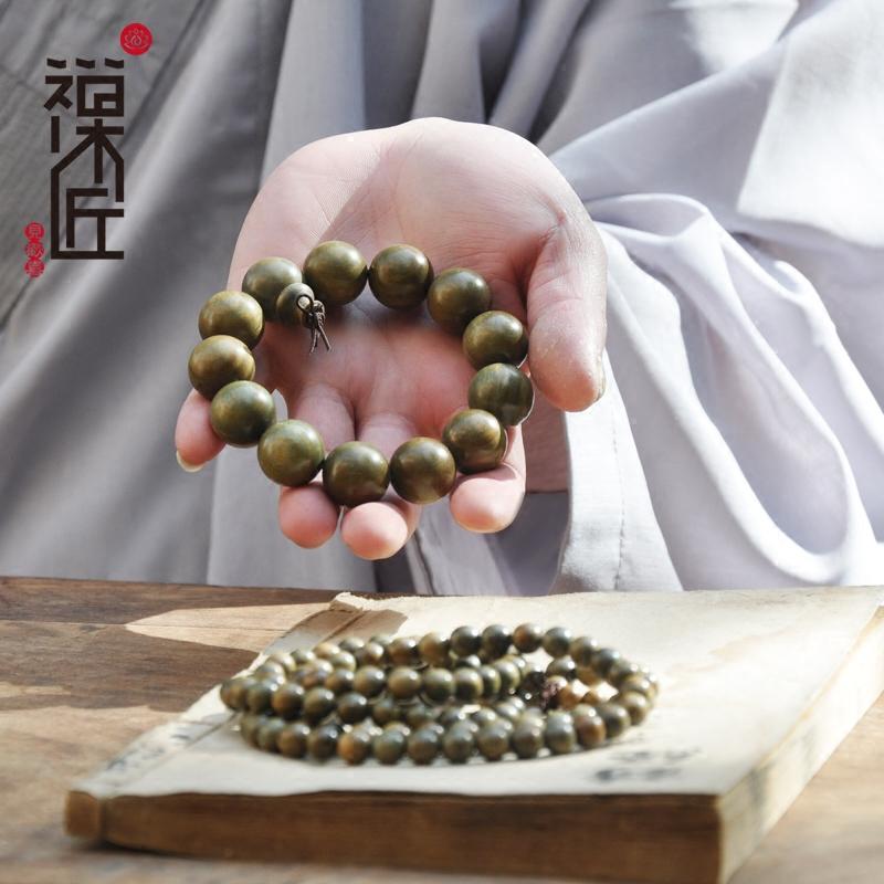 禅木匠 正宗老料绿檀木佛珠手链男女款念珠天然绿檀手串108颗2.0