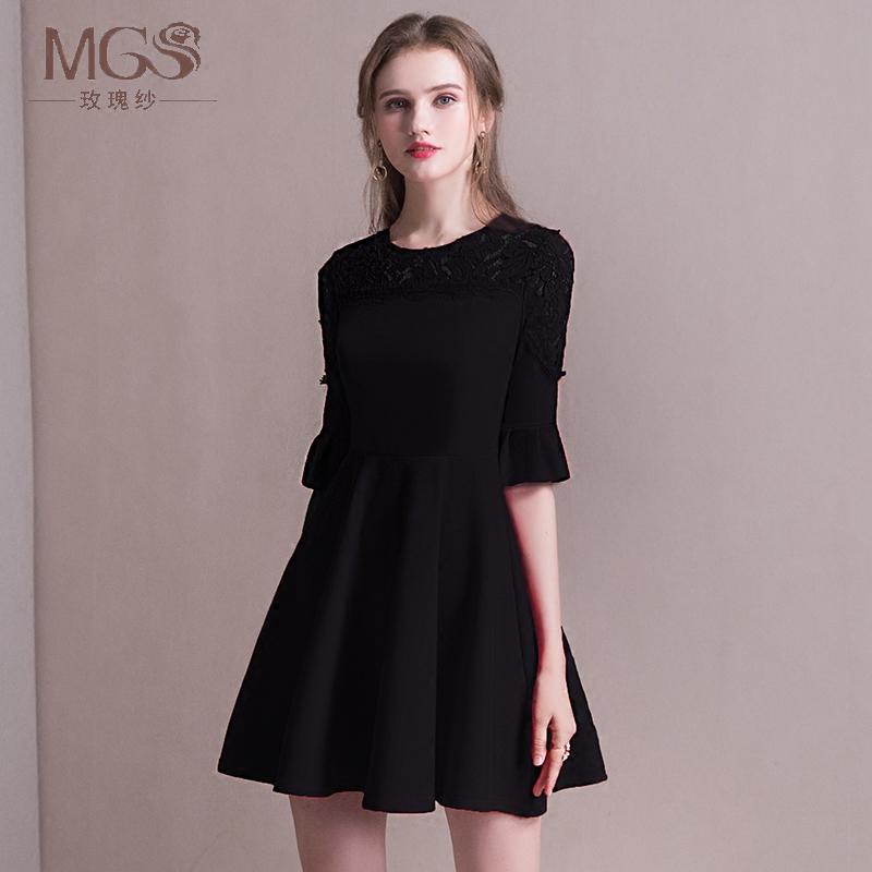 晚礼服2019新款高贵黑色短款显瘦气质宴会洋装名媛小礼服连衣裙女