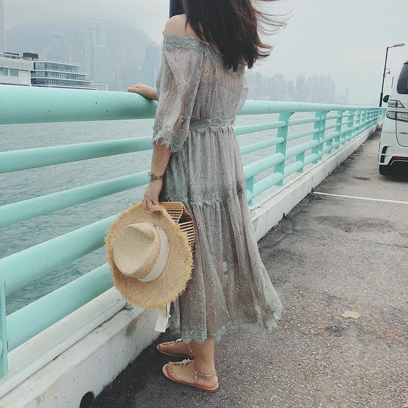 现货摩妮卡大码女装200斤胖mm气质露肩显瘦两件套连衣裙新款夏装
