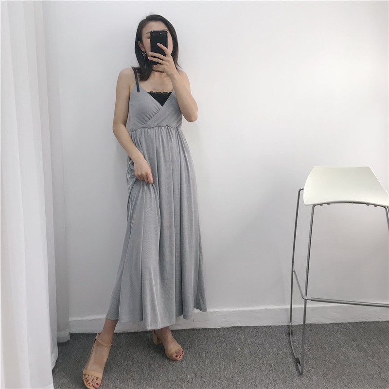 Special price cold wind ins super hot dress outside wear very simple show thin 2018 new gentle wind suspender skirt female