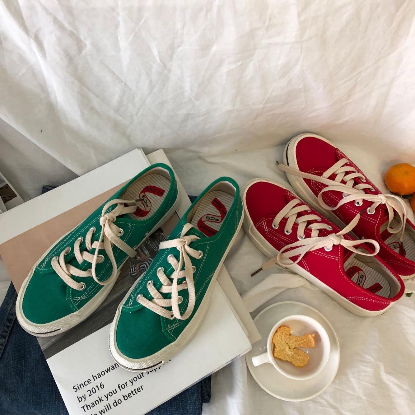 泡面小希鞋子 2018春季新款复古绿色开口笑学生帆布鞋平底韩板鞋图片