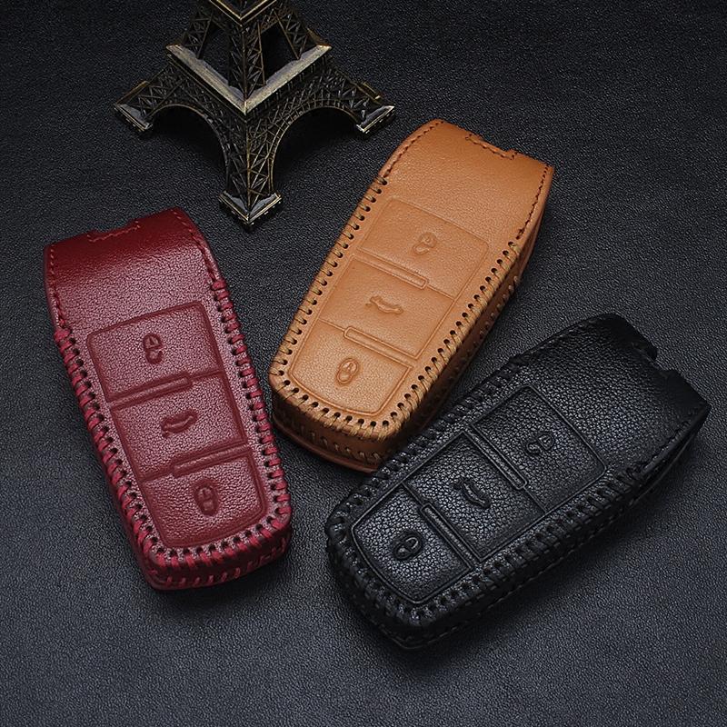 真皮手縫鑰匙包 於大眾新邁騰 B7LB6CC汽車遙控防丟鑰匙套男女