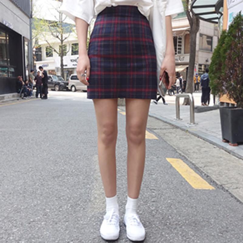 Korean spring and summer high waist A-line short skirt, Scottish plaid skirt, college wind bag, buttocks, versatile slim skirt