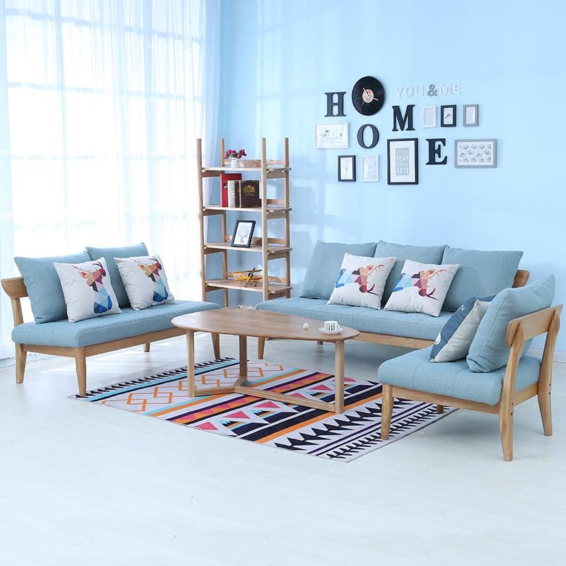 北欧现代简约实木橡木布艺沙发简约小户型三人可拆洗客厅家具组合