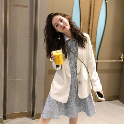 Via Vela casual white satin suit for women spring and autumn new commuter loose little suit coat