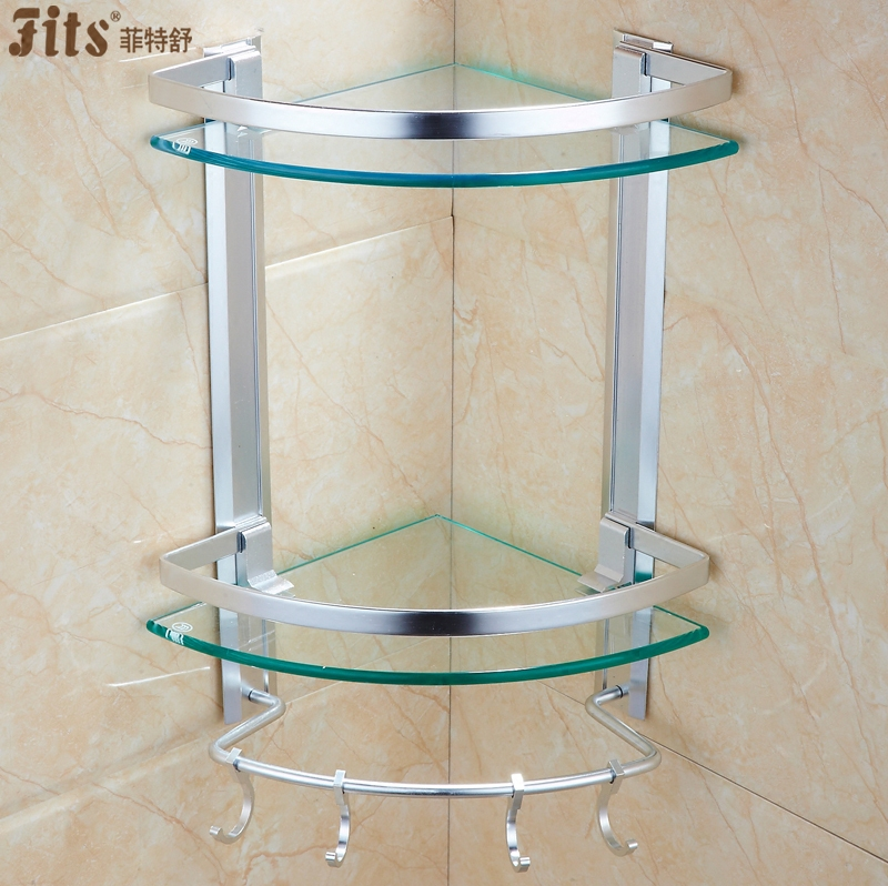 菲特舒 玻璃浴室置物架卫生间洗漱台三角架壁挂双层太空铝收纳架券后55.00元