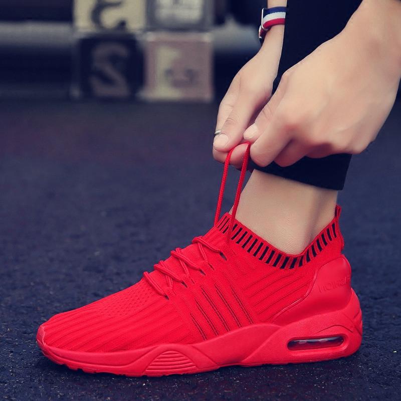社会精神小伙男鞋百搭夏季韩版潮流红色跑步潮鞋男士运动休闲网鞋