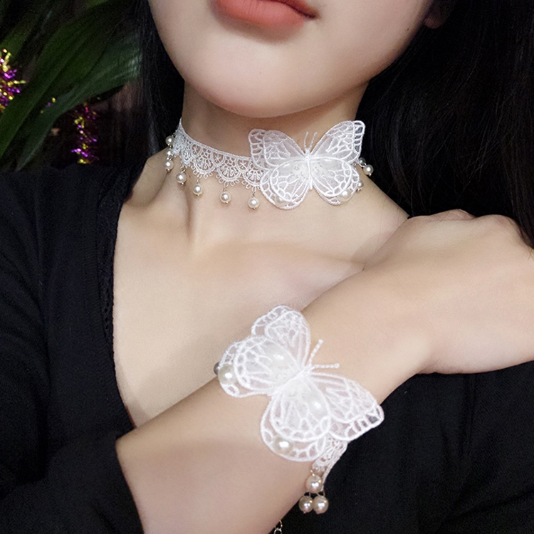 Japanese and Korean Lace Necklace headdress white pearl simple and sweet versatile female neck chain bridal dress accessories