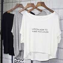 字母印花短款T恤女装 夏季欧美风宽松百搭大码短袖莫代尔上衣罩衫