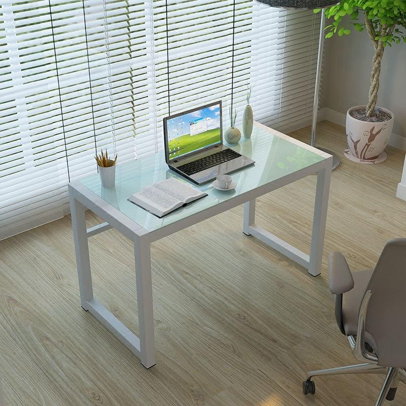 简约钢化玻璃电脑桌简易桌子写字台办公桌经济型电脑桌家用环保桌
