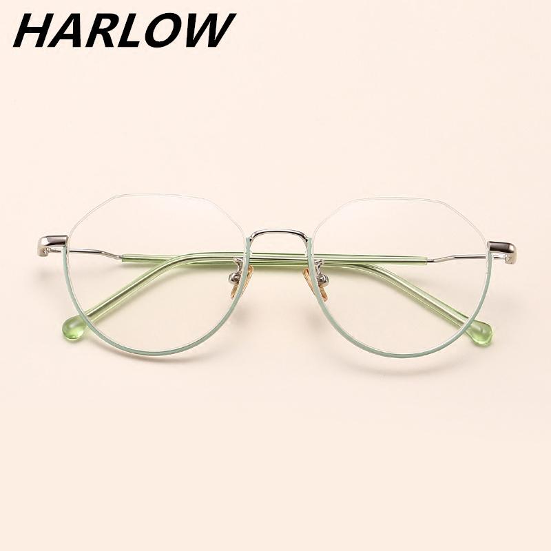 下半框眼镜2018新款多边形眼镜框女韩版复古潮可配近视眼镜架圆脸