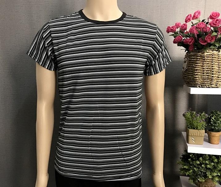 新品夏短袖男T恤圆领超薄凉爽透气宽松学生青年时尚上衣黑白条纹