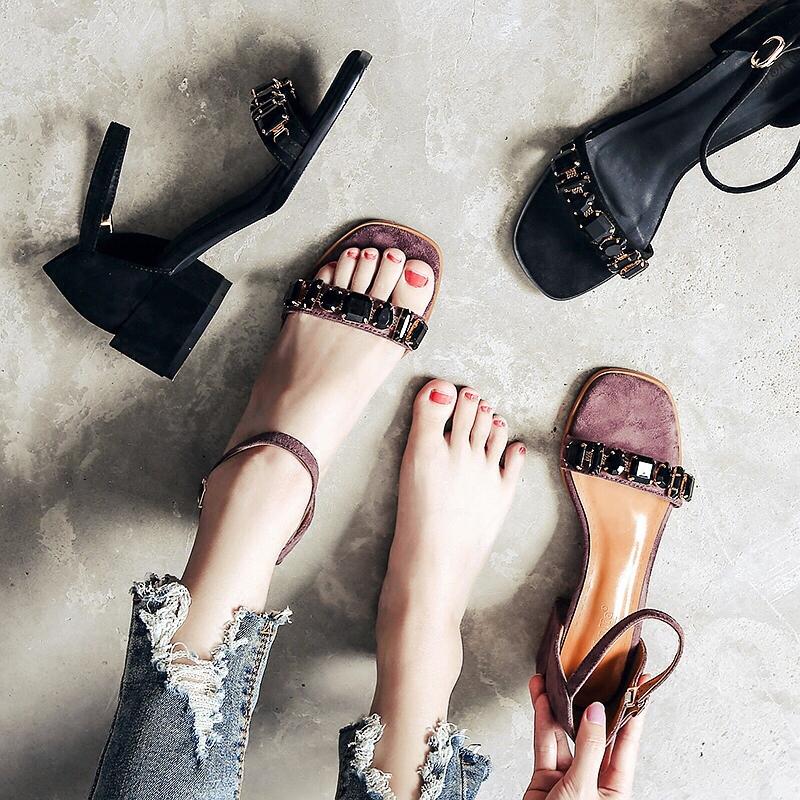 凉鞋2018新款女夏仙女水钻中跟粗跟一字扣带软妹chic小清新高跟鞋