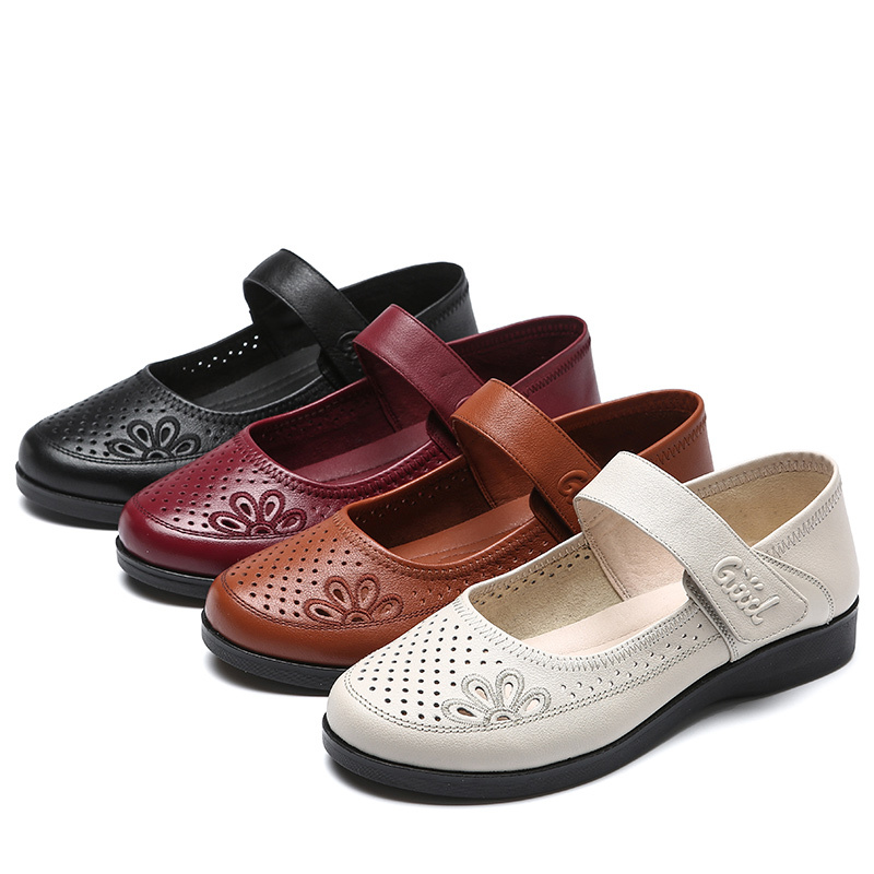 Leather flat bottom mother sandals brand mesh single shoes pull strap middle-aged and elderly womens shoes 33-43 soft square mouth leather shoes