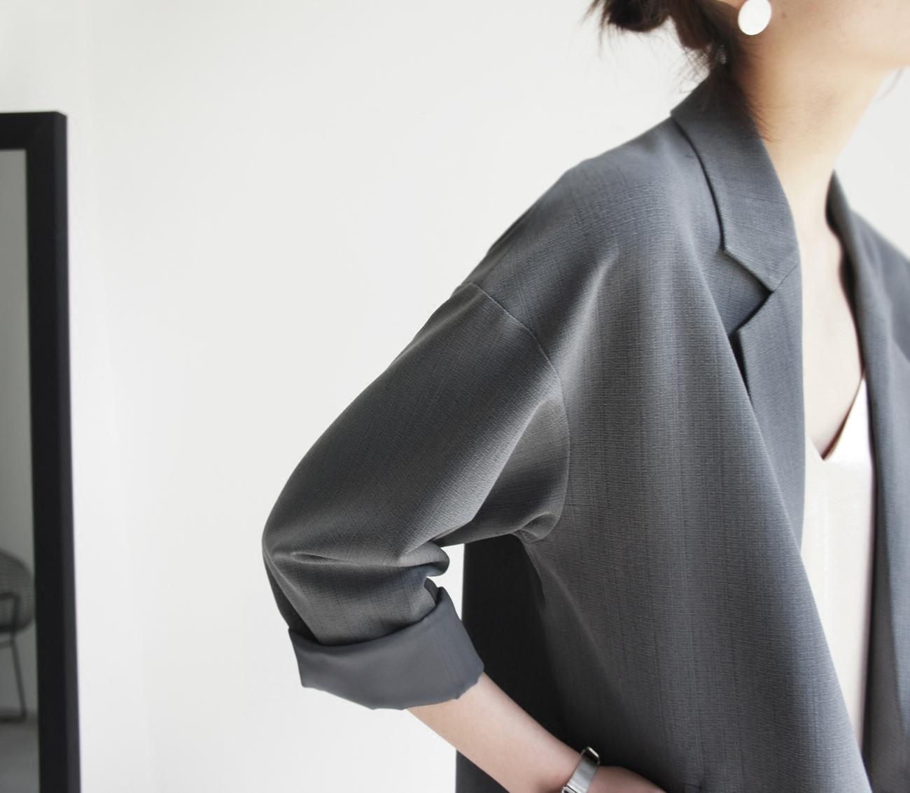 JO-JO-Z эксклюзивный кокон тип костюм пальто слоны серые вертикальный провод неясный продвинутый очень включать тонкий темперамент рекомендация