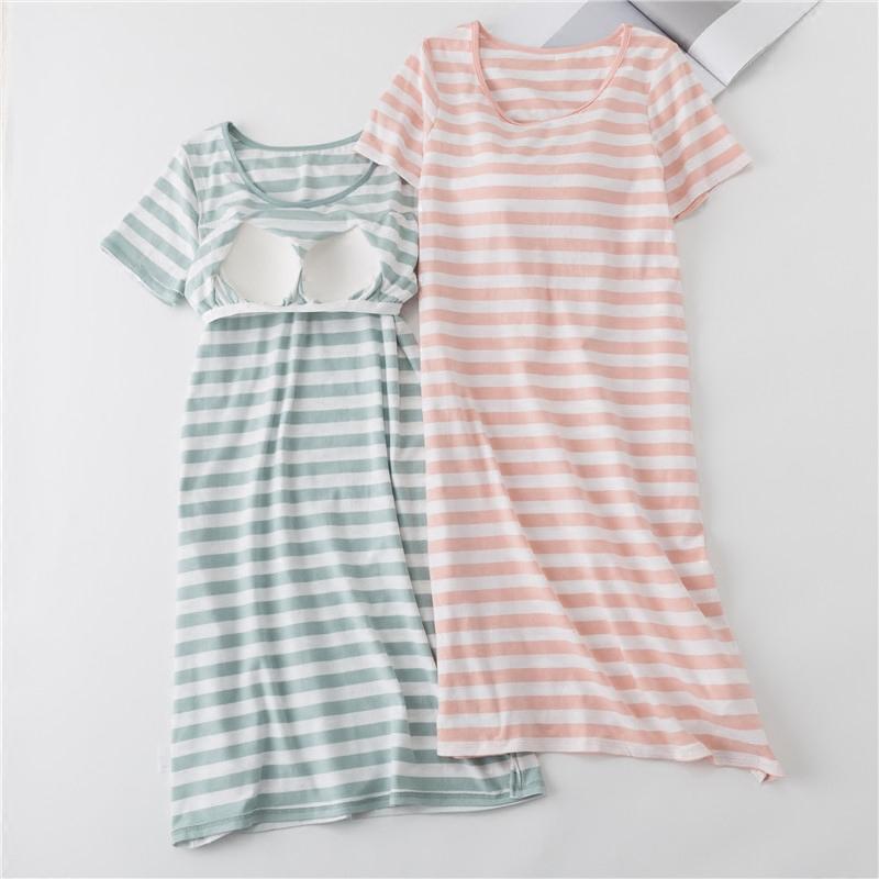 日系清新条纹带胸垫睡裙女夏免穿文胸罩杯一体睡衣家居宽松长裙