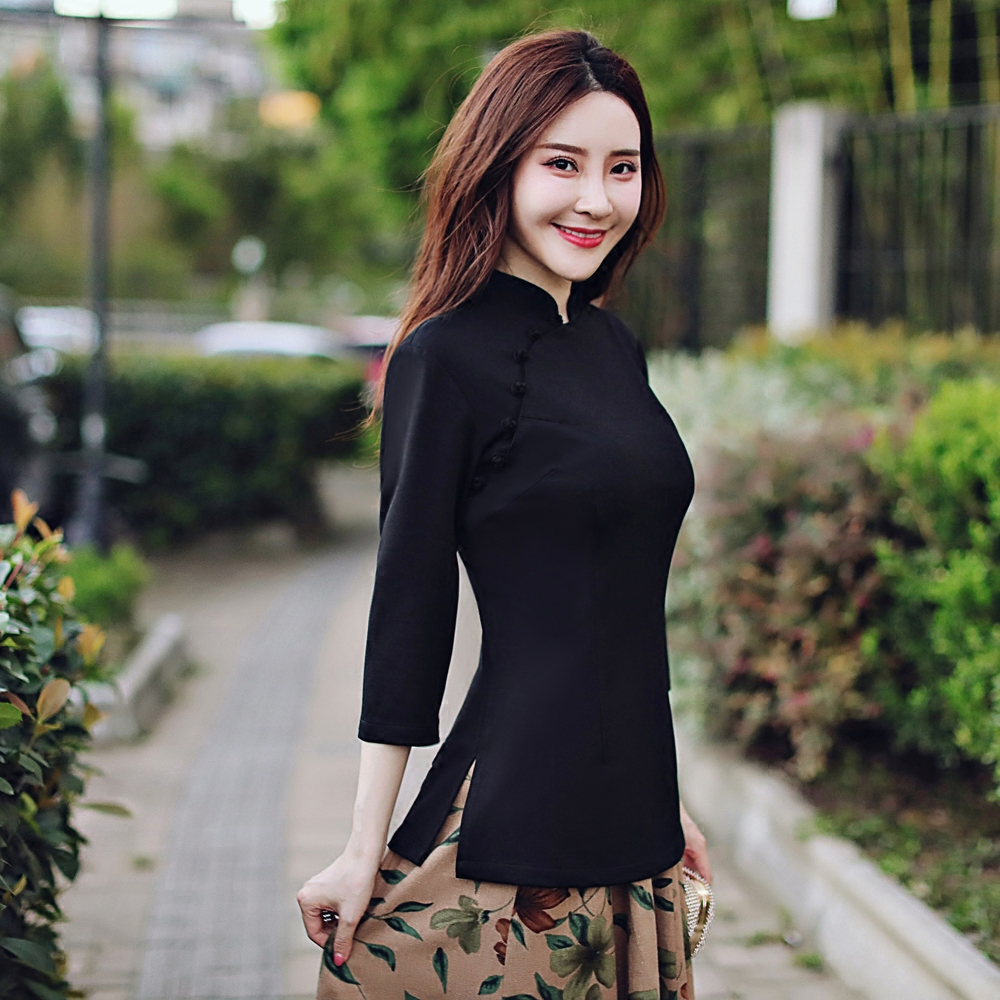 Republic of China style women's spring and summer Tang suit improved cheongsam tops Chinese style costume retro