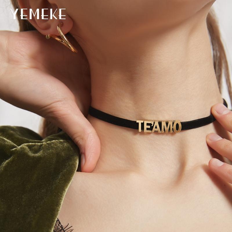 (用29元券)字母项链choker锁骨链女短款颈链黑色项圈颈带脖子饰品网红脖圈潮