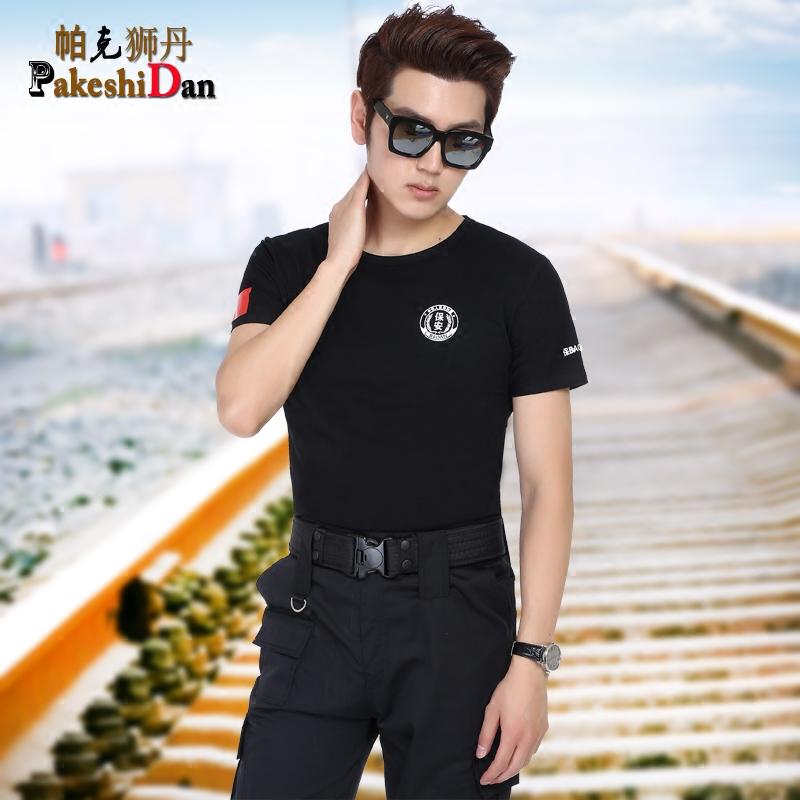 夏�b短袖保安服T恤 保安T恤�棉透�� 保安服黑色�w恤衫夏季保安服