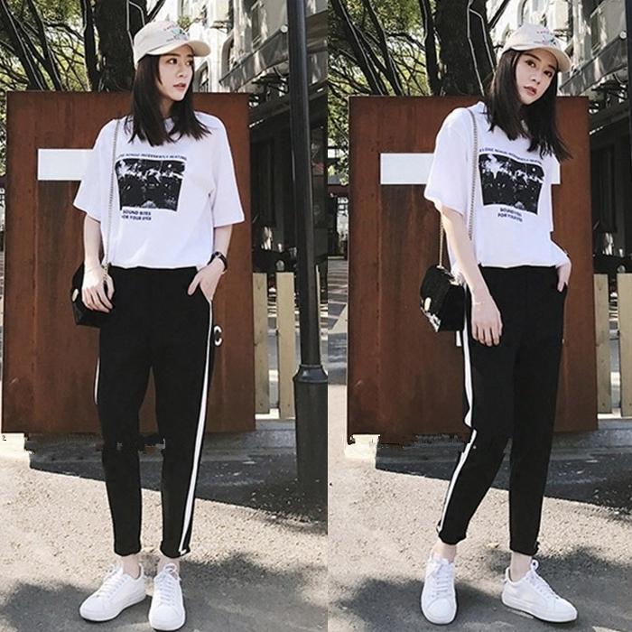 2019夏季新款韩版五分袖休闲宽松运动套装九分裤显瘦两件套女装潮