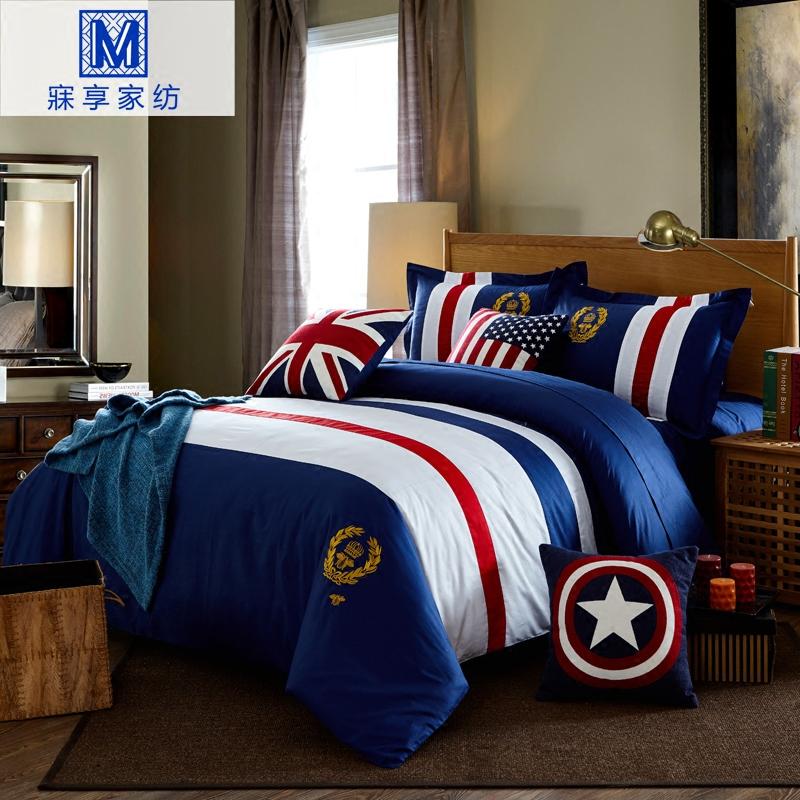 寐享儿童四件套纯棉米字旗欧美风床笠款男孩床单三件套美式英伦风