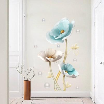 墙画画蓝色荷花3D自粘墙贴纸玄关墙立体墙贴饰品壁纸墙面g卧室装