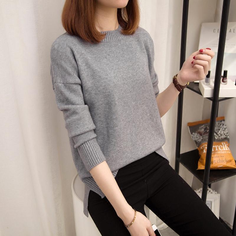 圆领套头毛衣女秋冬女装新品长袖宽松纯色打底衫韩版短款针织衫潮