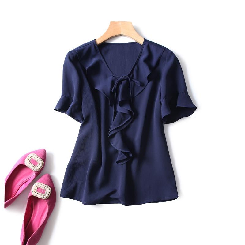 法式浪漫 18夏季新品 优雅荷叶边V领系带显瘦雪纺短袖衬衫 上衣女