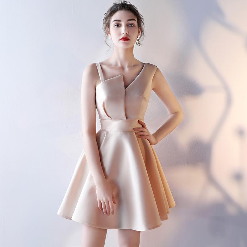宴会晚礼服2017新款韩版伴娘服短款学生聚会派对小礼服连衣裙女夏