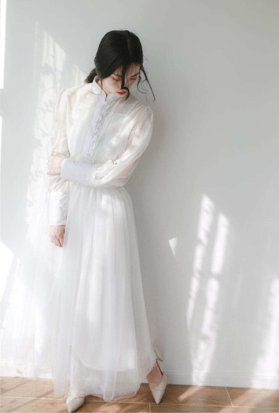 2018新款复古立领长裙森系轻婚纱旅拍轻纱简约短款赫本超仙气礼服