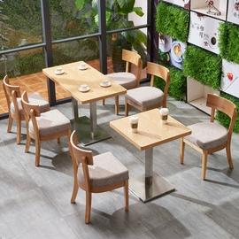 简约现代实木咖啡厅桌椅组合奶茶店冷饮店甜品茶餐厅快餐店桌椅