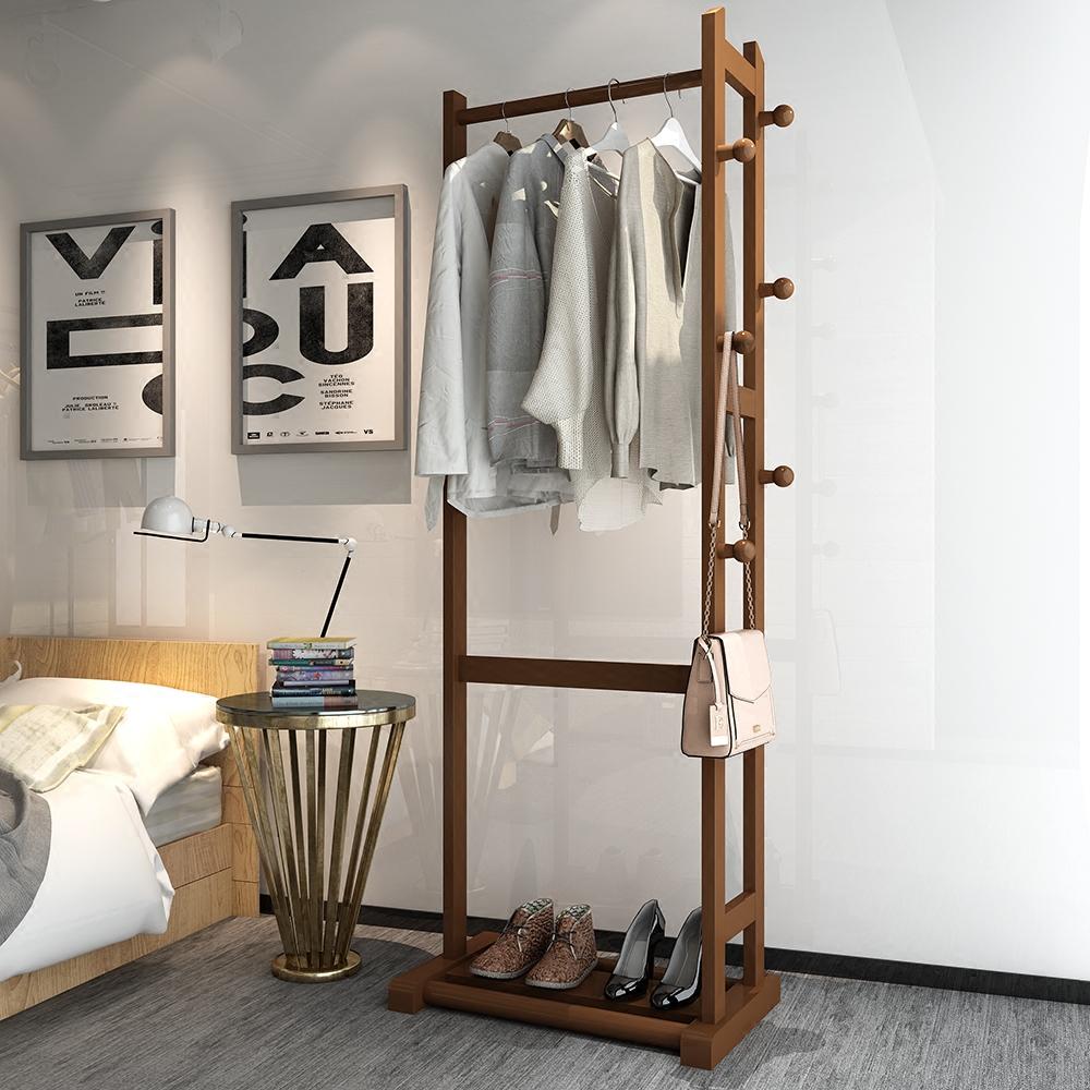 现代简约落地实木衣帽架卧室家用衣服架子创意衣架多功能挂衣架