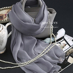 Grey genuine female spring and summer and winter solid color silk scarves 100 silk scarf super long scarf shawl