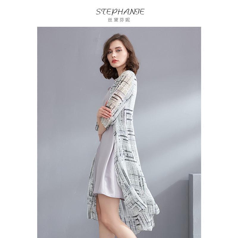雪纺修身气质2018夏装新款休闲宽松妈妈女装两件套格子连衣裙套装