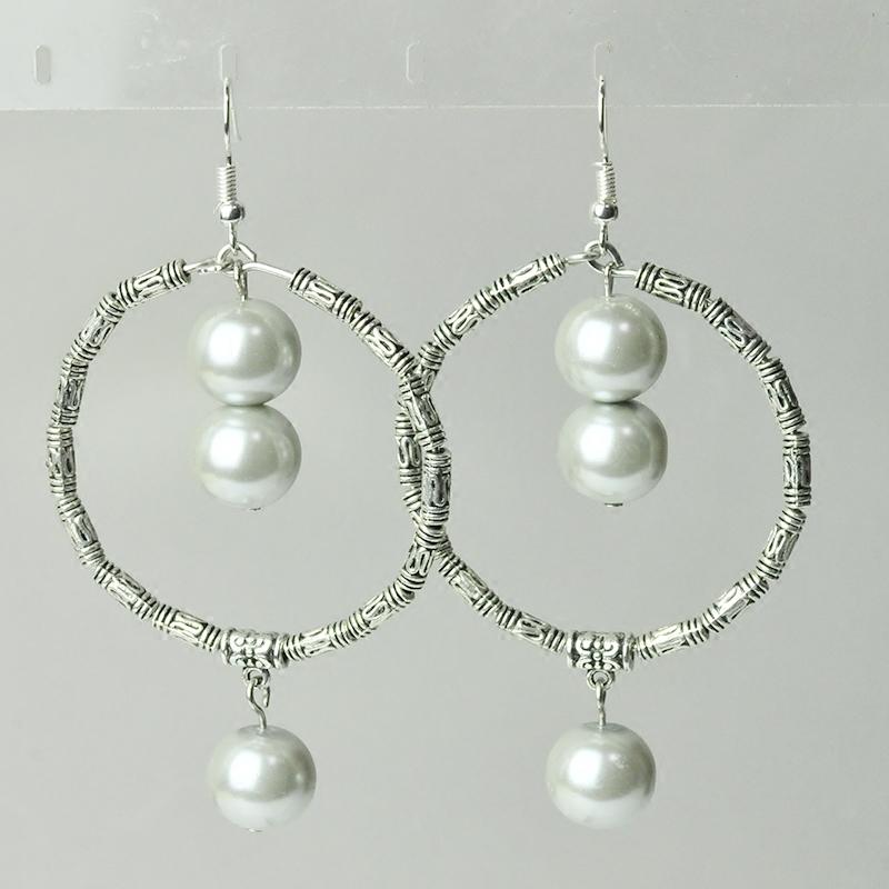 清仓特价原创设计波西米亚夸张风格大圈珍珠耳坠耳环饰品 女
