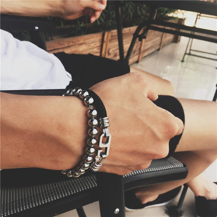 香港潮牌救生绳六字扣数字男女钛钢手链明星网红同款情侣嘻哈手环