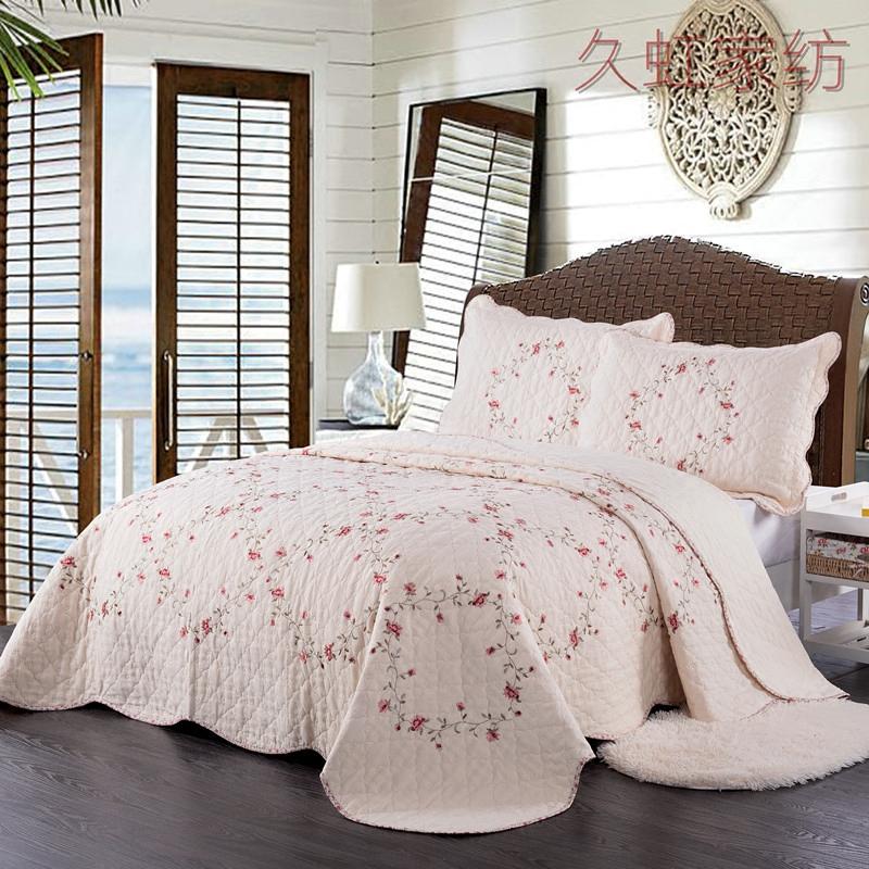 田园纯棉绗缝绣花空调被夏凉被全棉被四件套双人床盖床单机洗特价