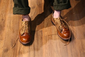 复古做旧英伦风低帮真皮大头皮鞋