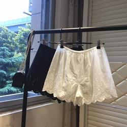 韩国新款刺绣蕾丝花边全棉宽松薄款防走光女夏天安全裤打底短裤