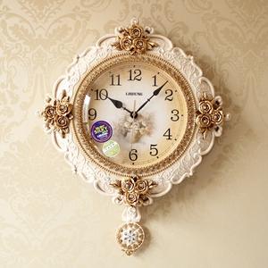 美式復古鐘表歐式掛鐘客廳靜音田園藝術擺鐘創意壁鐘大號豪華時鐘