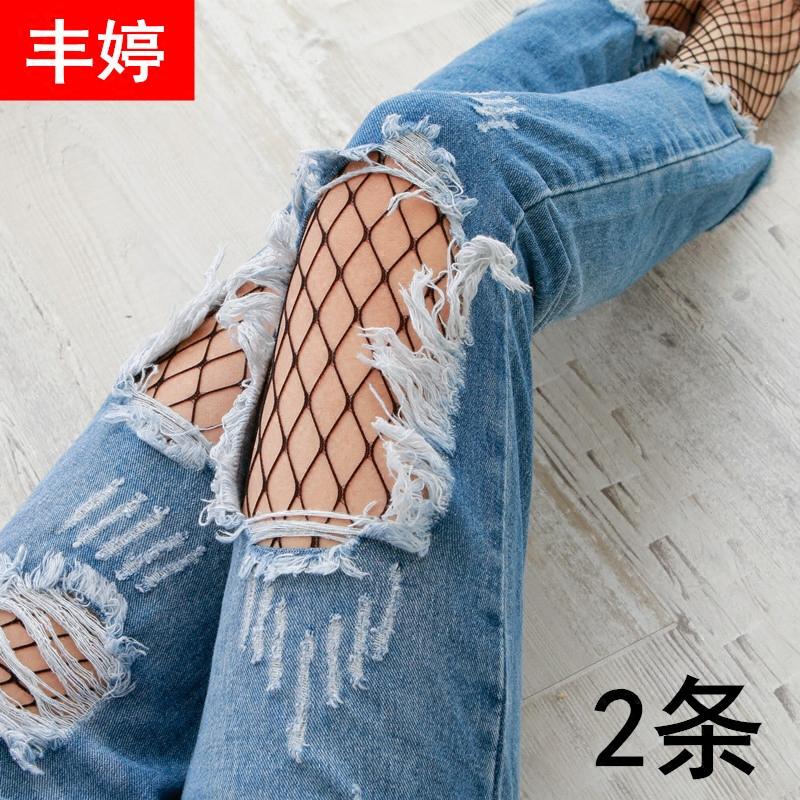 长款网袜女性感连体黑色渔网袜镂空连裤袜破洞牛仔裤大小网格白色